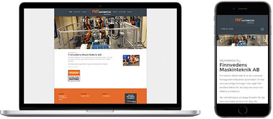 Webbsida för Finnvedens Maskinteknik i Värnamo