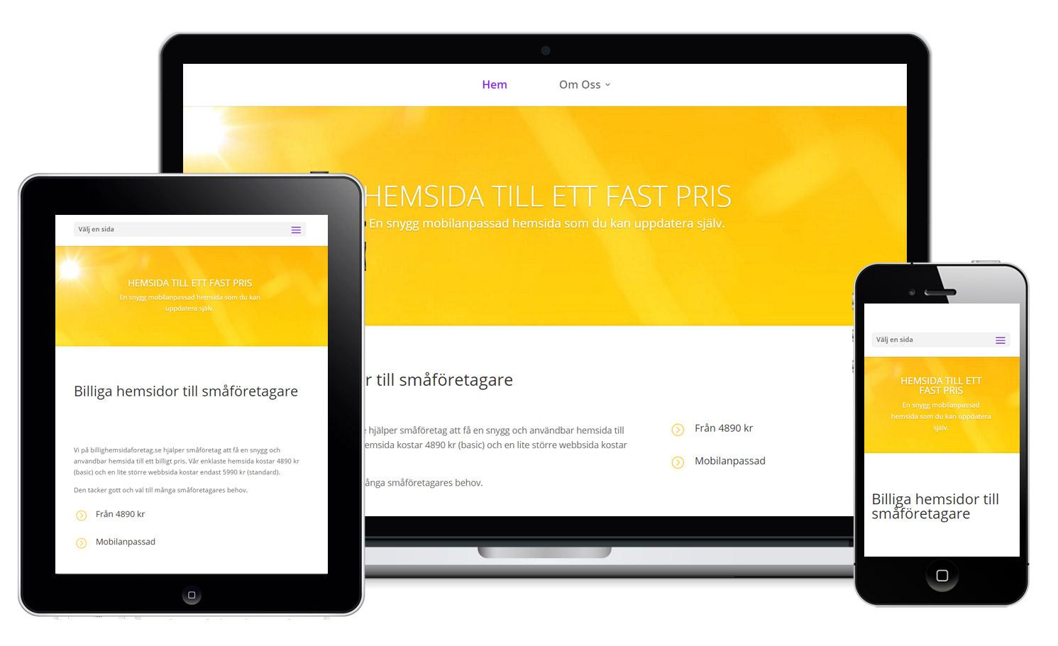 Din hemsida blir mobilanpassad och anpassar sig efter skärmstorleken.