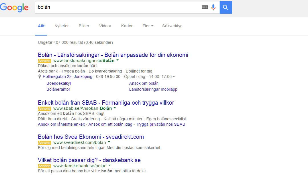 Google slutar att visa annonser i sidofältet