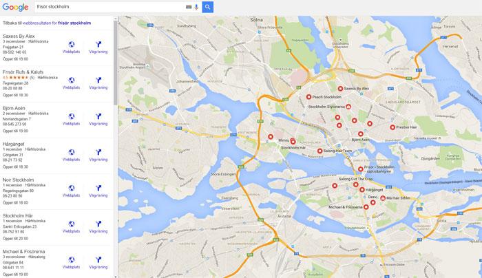 Google My Business när besökaren har klickat på fler paltser