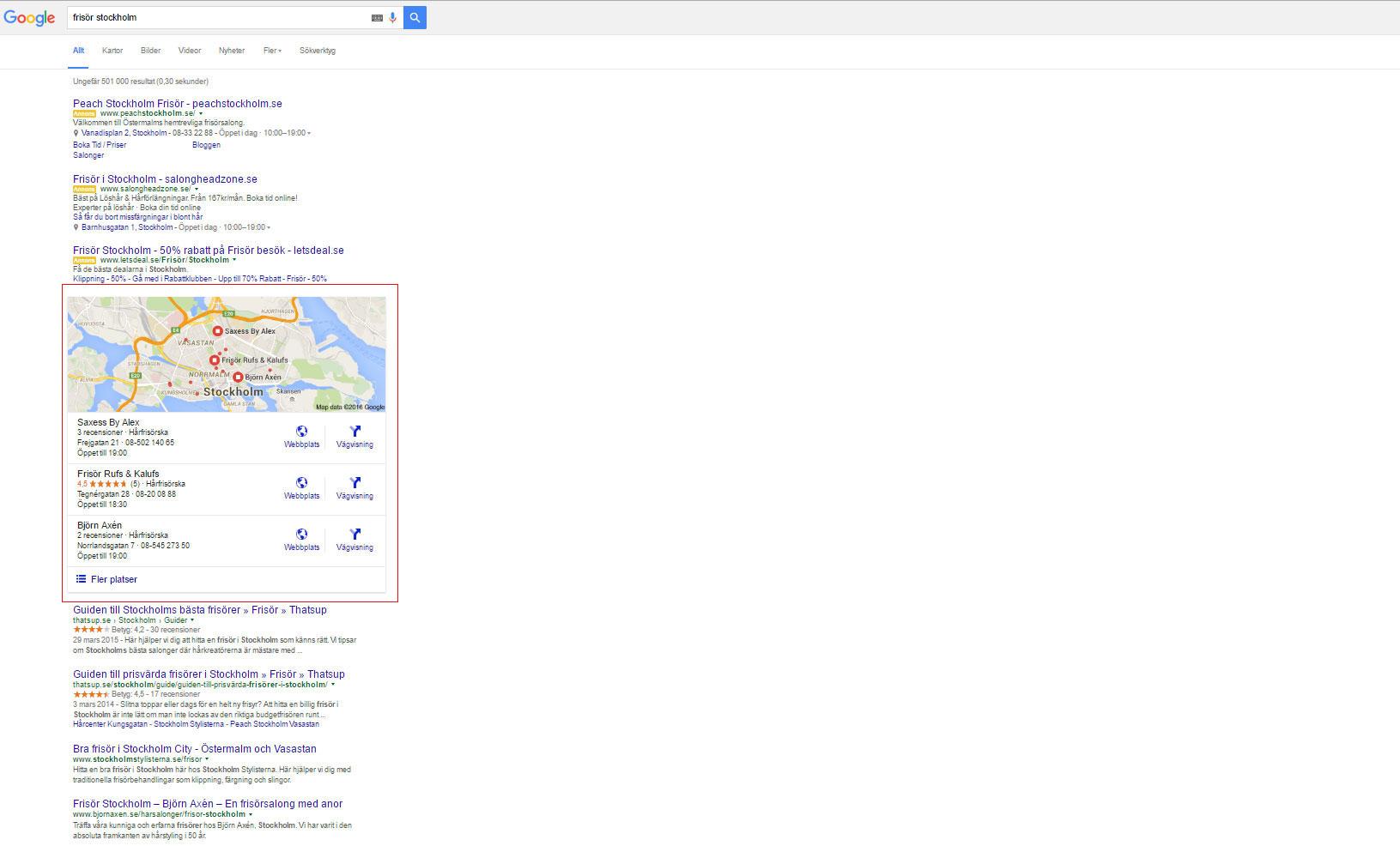 Google My Business i sökresultaten med exemplet frisör stockholm