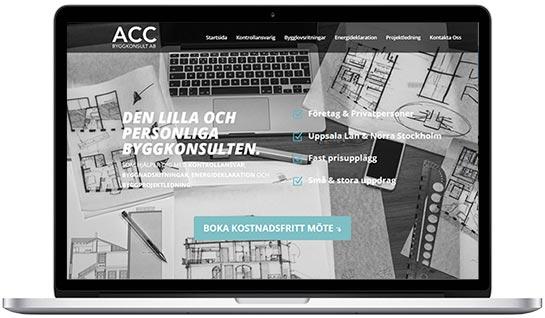 Webbproduktion åt ACC Byggkonsult i Uppsala